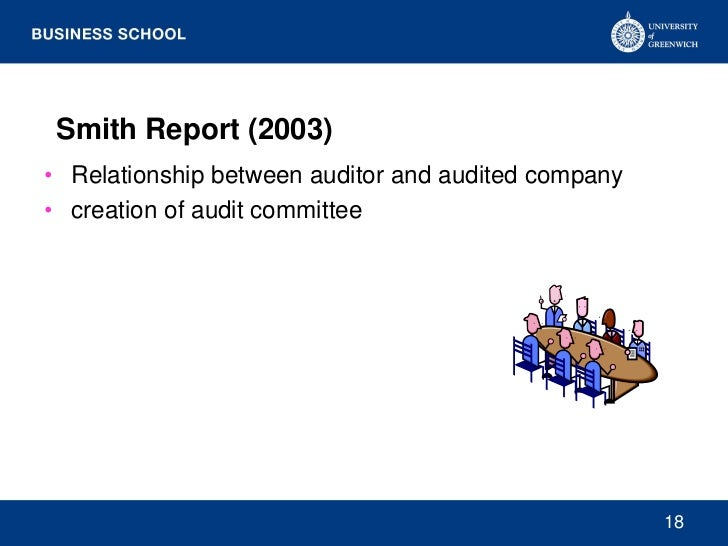 Smith Report (2003)• Relationship between auditor and audited company• creation of audit committee                        ...