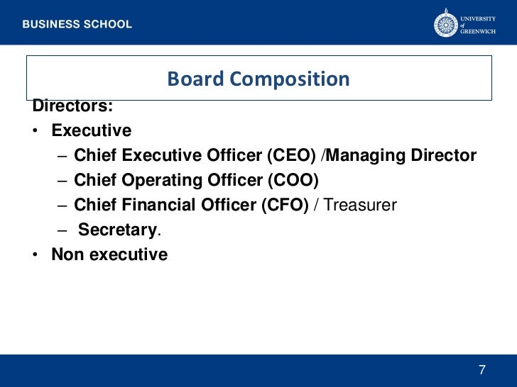 Board CompositionDirectors:• Executive   – Chief Executive Officer (CEO) /Managing Director   – Chief Operating Officer (C...