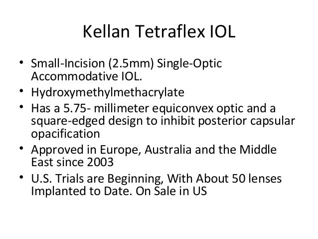 Tetraflex accommodating iol