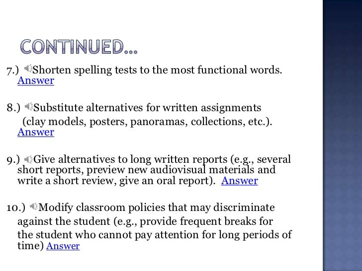Accommodations and Modifications for students -pp