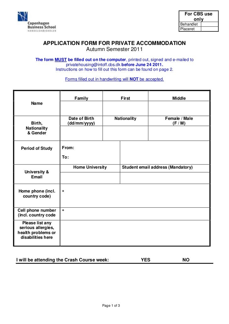 CBS Housing Application Form