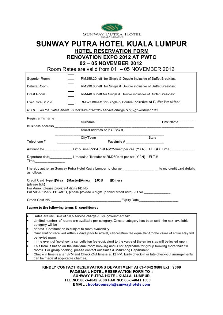 HOTEL RESERVATION FORM: RENOVATION EXPO 2012 From 2-5 Nov 2012(Sunway…