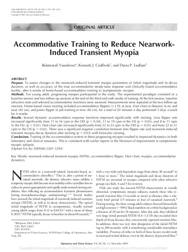 ORIGINAL ARTICLE Accommodative Training to Reduce Nearwork- Induced Transient Myopia Balamurali Vasudevan*, Kenneth J. Ciu...