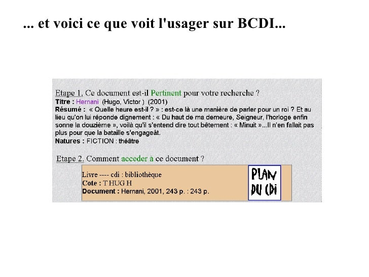 ... et voici ce que voit l'usager sur BCDI...