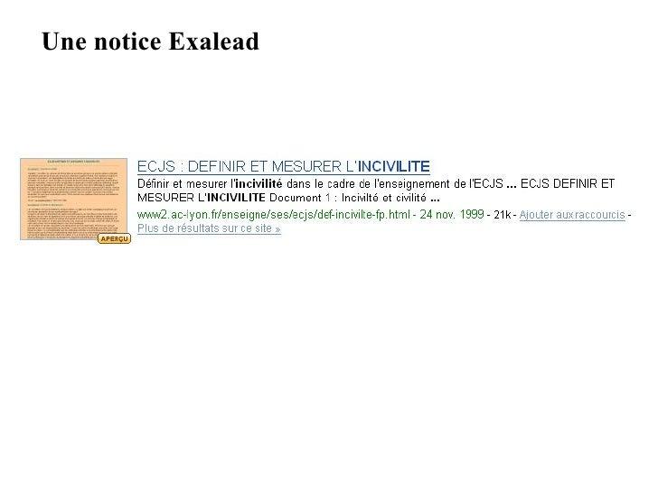Une notice Exalead