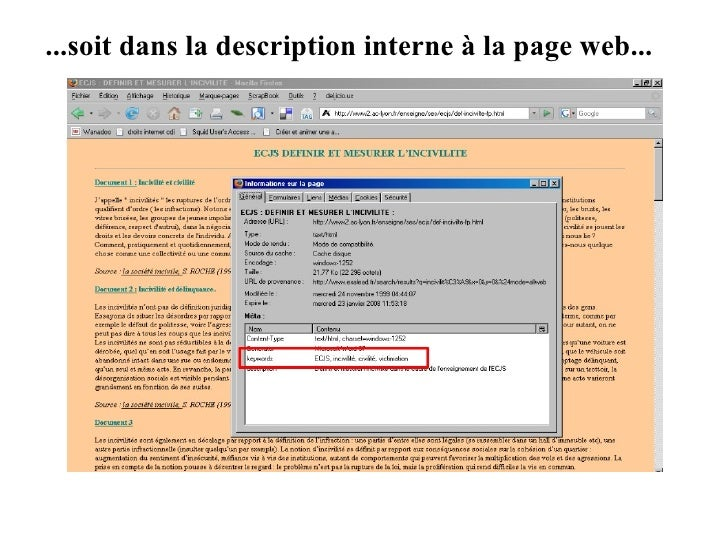 ...soit dans la description interne à la page web...