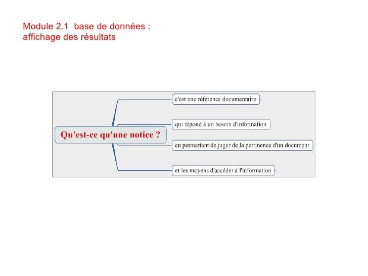 Module 2.1  base de données : affichage des résultats