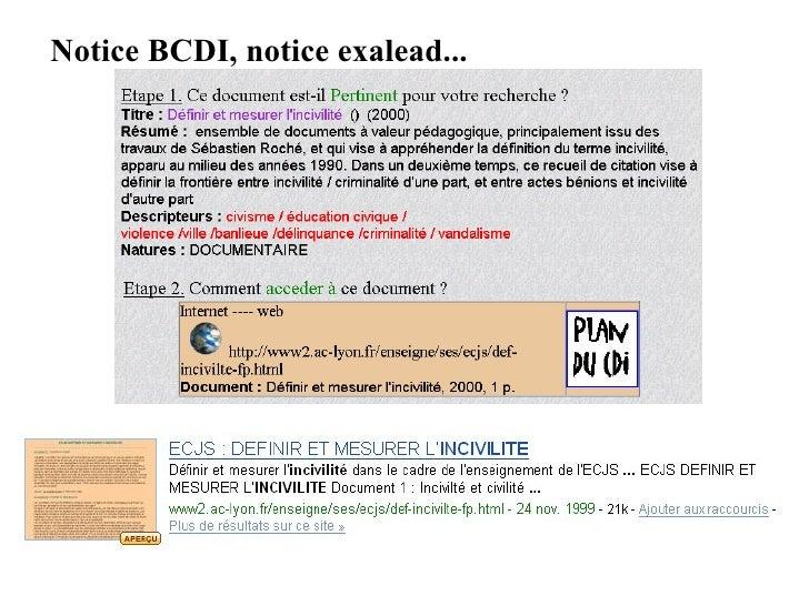 Notice BCDI, notice exalead...