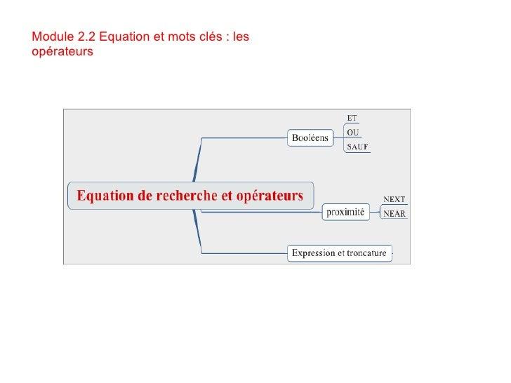 Module 2.2 Equation et mots clés : les opérateurs
