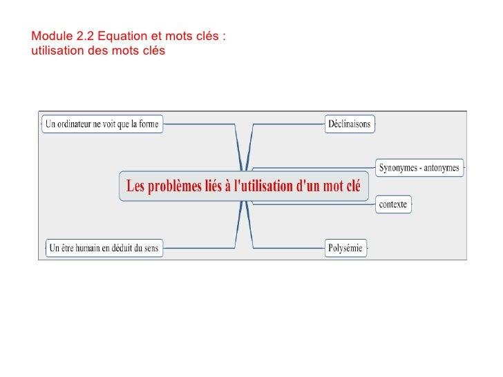Module 2.2 Equation et mots clés : utilisation des mots clés