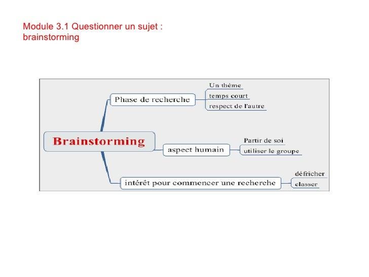 Module 3.1 Questionner un sujet : brainstorming