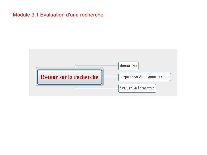 Module 3.1 Evaluation d'une recherche