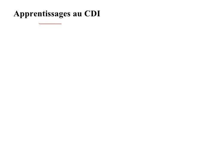 Apprentissages au CDI