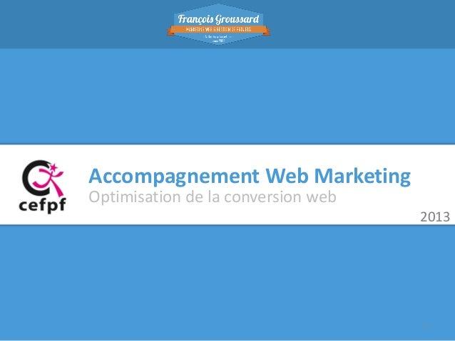 Accompagnement Web Marketing Optimisation de la conversion web 2013  1