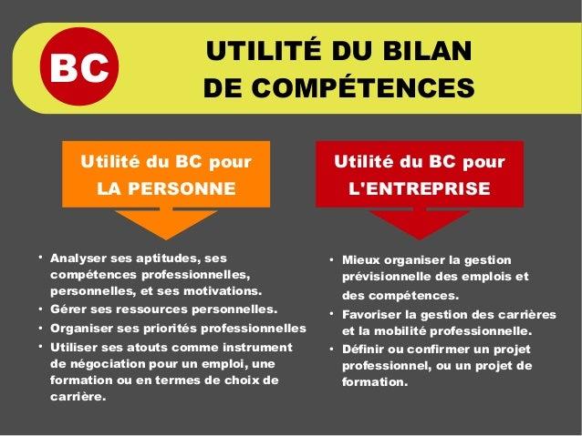 BC UTILITÉ DU BILAN DE COMPÉTENCES ● Analyser ses aptitudes, ses compétences professionnelles, personnelles, et ses motiva...