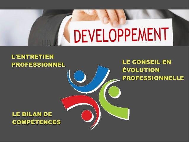 L'ENTRETIENL'ENTRETIEN PROFESSIONNELPROFESSIONNEL LE BILAN DELE BILAN DE COMPÉTENCESCOMPÉTENCES LE CONSEIL ENLE CONSEIL EN...