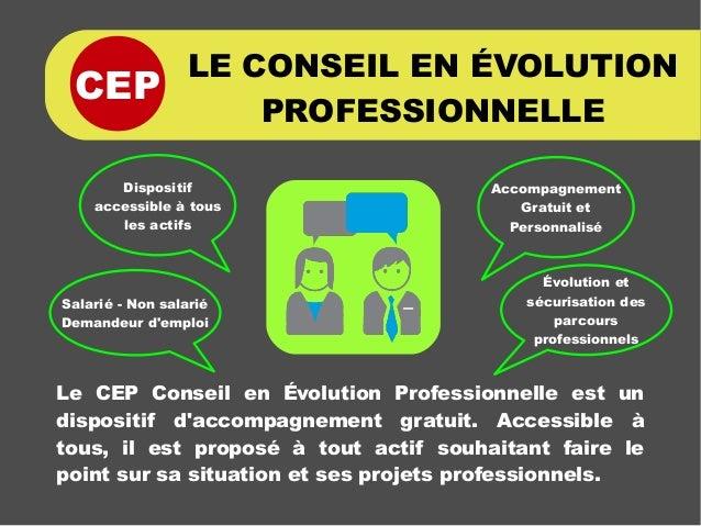 CEP LE CONSEIL EN ÉVOLUTION PROFESSIONNELLE Le CEP Conseil en Évolution Professionnelle est un dispositif d'accompagnement...