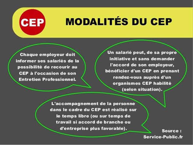 CEP MODALITÉS DU CEP Chaque employeur doit informer ses salariés de la possibilité de recourir au CEP à l'occasion de son ...