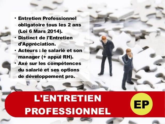 EP L'ENTRETIEN PROFESSIONNEL ● Entretien Professionnel obligatoire tous les 2 ans (Loi 6 Mars 2014). ● Distinct de l'Entre...