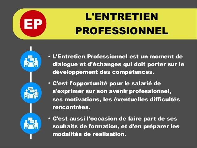 EP ● L'Entretien Professionnel est un moment de dialogue et d'échanges qui doit porter sur le développement des compétence...