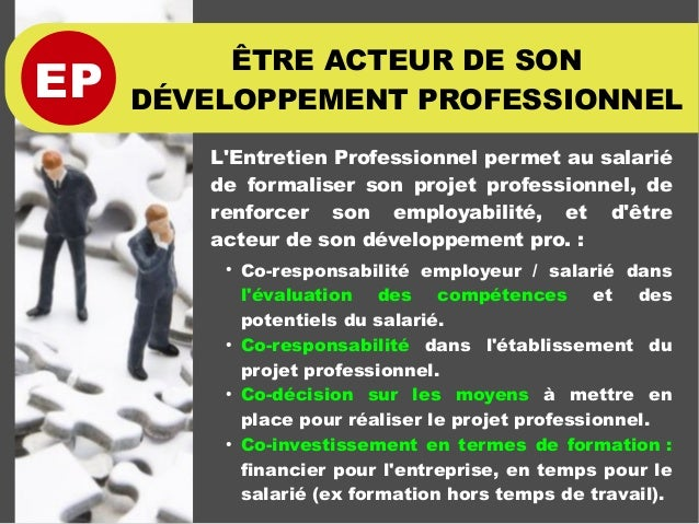 EP ÊTRE ACTEUR DE SON DÉVELOPPEMENT PROFESSIONNEL L'Entretien Professionnel permet au salarié de formaliser son projet pro...