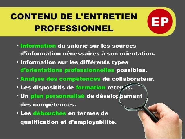 EP CONTENU DE L'ENTRETIEN PROFESSIONNEL ● Information du salarié sur les sources d'information nécessaires à son orientati...