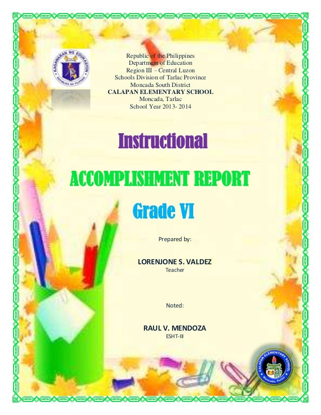 instructional accomplishment report – Accomplishment Report Format