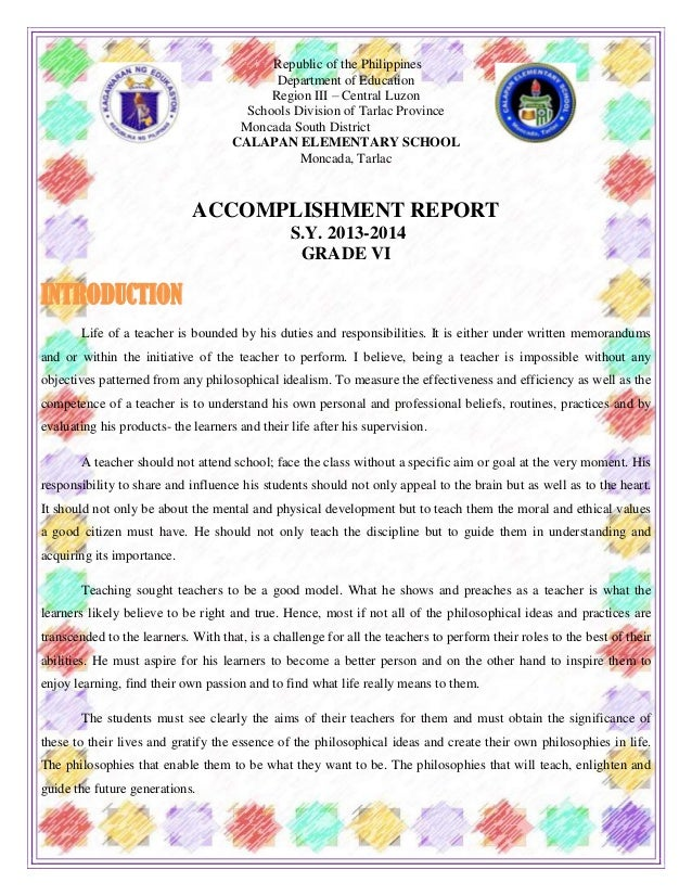 Accomplishment Report Grade Six