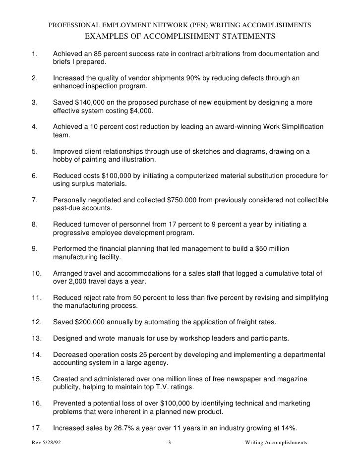 Accomplishment Examples For Resume Examples of Accomplishment