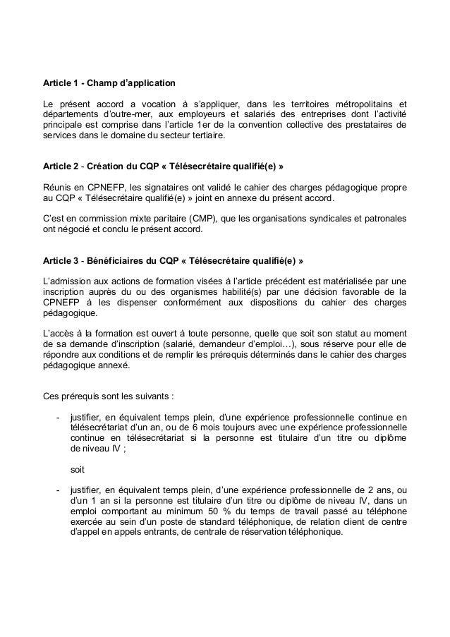 Idcc 2098 Accord Cqp Telesecretaire Qualif
