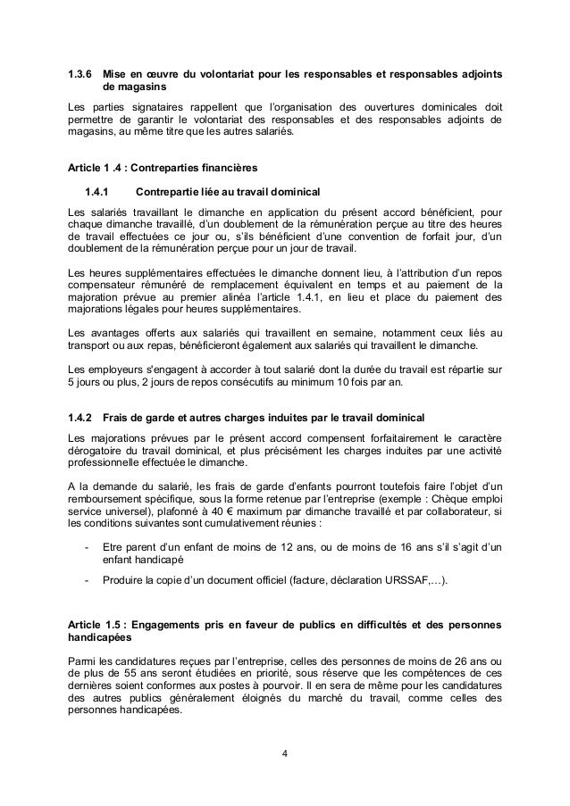 Idcc 675 Accord Derogation Repos Dominical Habillement Succursaliste