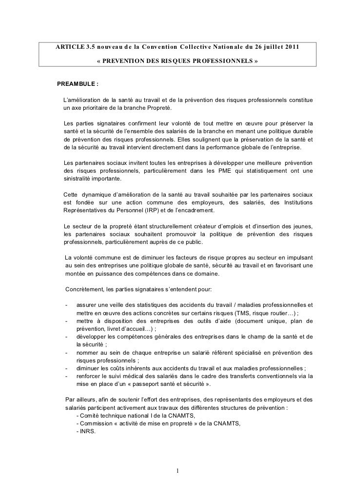 ARTICLE 3.5 nouveau de la Convention Collective Nationale du 26 juillet 2011               « PREVENTION DES RIS QUES PROFE...