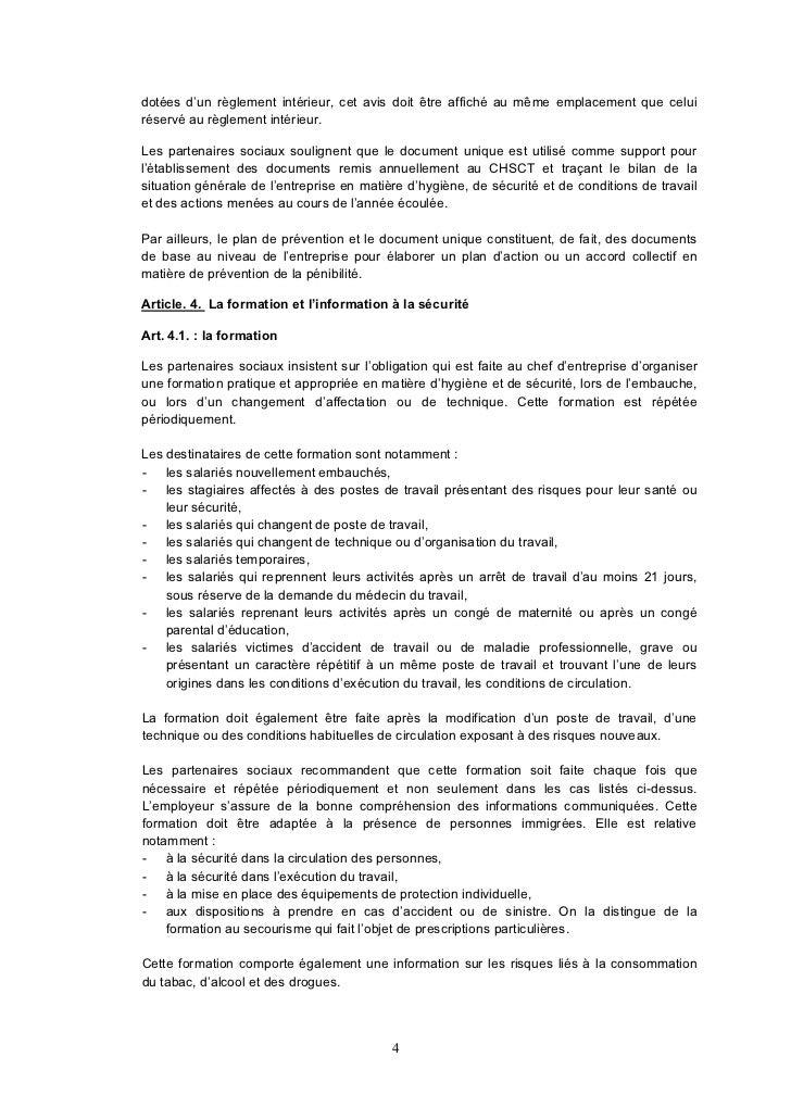 Accord et annexe proprete for Reglement interieur entreprise