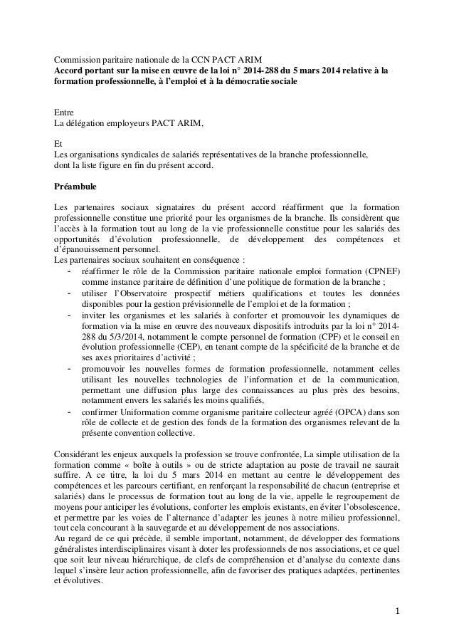Commission paritaire nationale de la CCN PACT ARIM Accord portant sur la mise en œuvre de la loi n° 2014-288 du 5 mars 201...