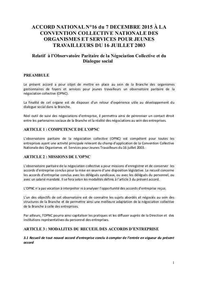 ACCORD NATIONAL N°16 du 7 DECEMBRE 2015 À LA CONVENTION COLLECTIVE NATIONALE DES ORGANISMES ET SERVICES POUR JEUNES TRAVAI...