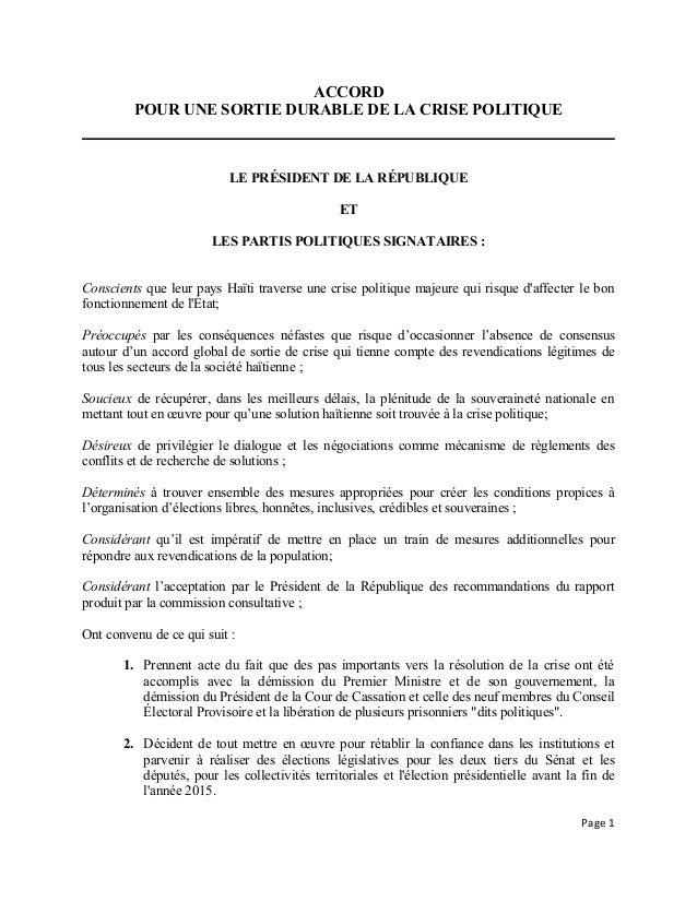 ACCORD POUR UNE SORTIE DURABLE DE LA CRISE POLITIQUE LE PRÉSIDENT DE LA RÉPUBLIQUE ET LES PARTIS POLITIQUES SIGNATAIRES : ...