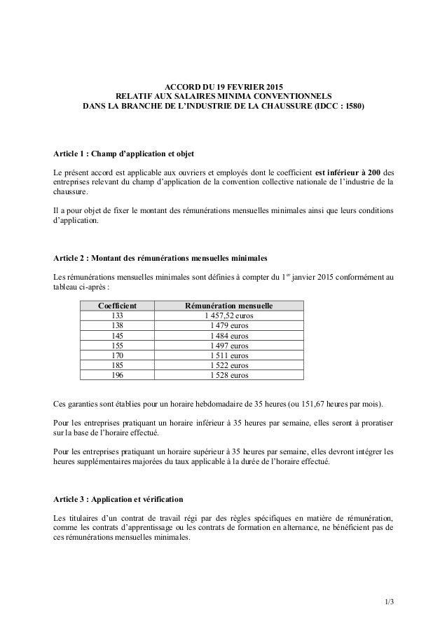 ACCORD DU 19 FEVRIER 2015 RELATIF AUX SALAIRES MINIMA CONVENTIONNELS DANS LA BRANCHE DE L'INDUSTRIE DE LA CHAUSSURE (IDCC ...
