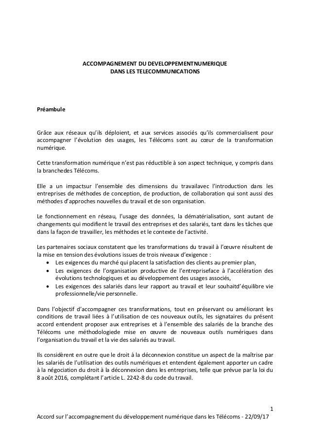 1 Accord sur l'accompagnement du développement numérique dans les Télécoms - 22/09/17 ACCOMPAGNEMENT DU DEVELOPPEMENTNUMER...