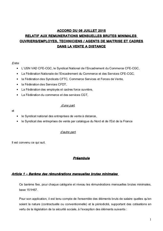 ACCORD DU 06 JUILLET 2015 RELATIF AUX REMUNERATIONS MENSUELLES BRUTES MINIMALES OUVRIERS/EMPLOYES, TECHNICIENS / AGENTS DE...