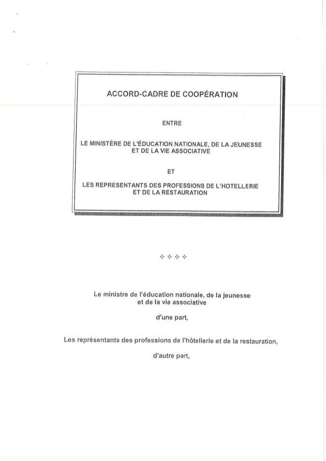 Accord cadre de coopération représentants des professions de l'hôtelerie restauration education nationale