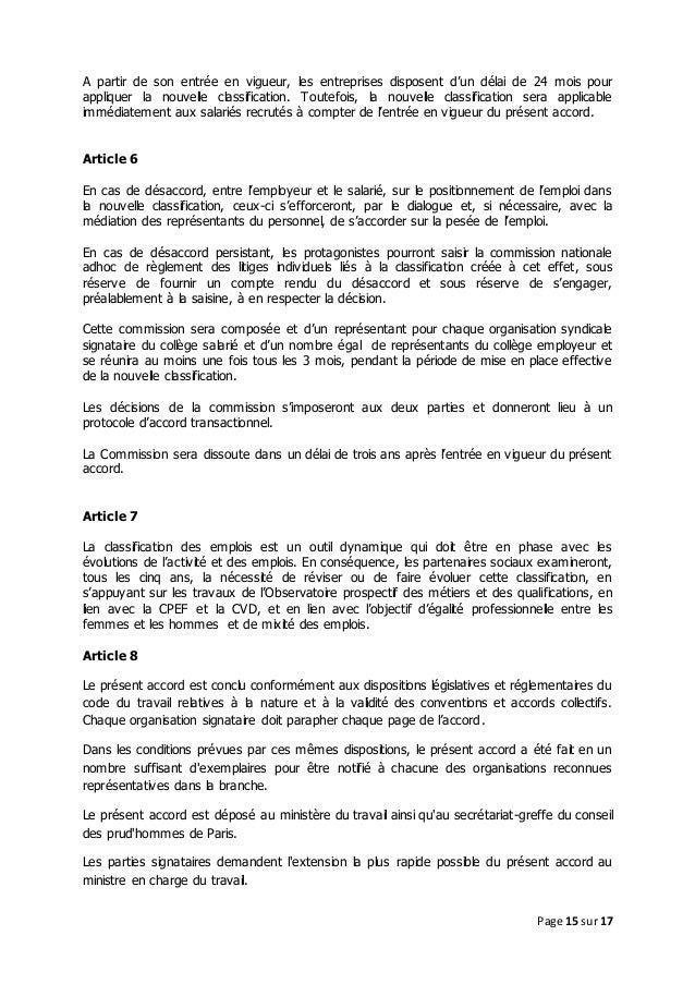Idcc 1516 Accord De Classification Des Emplois Et Metiers Dans La Ccn