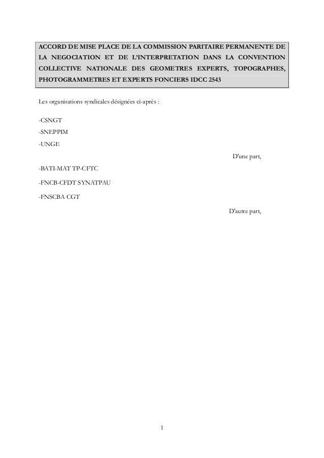 1 ACCORD DE MISE PLACE DE LA COMMISSION PARITAIRE PERMANENTE DE LA NEGOCIATION ET DE L'INTERPRETATION DANS LA CONVENTION C...