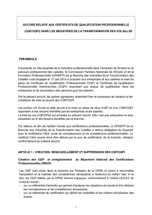 ACCORD RELATIF AUX CERTIFICATS DE QUALIFICATION PROFESSIONNELLE (CQP/CQPI) DANS LES INDUSTRIES DE LA TRANSFORMATION DES VO...
