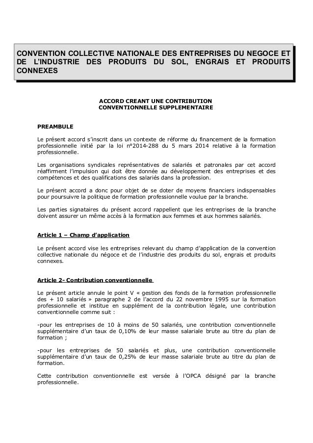 CONVENTION COLLECTIVE NATIONALE DES ENTREPRISES DU NEGOCE ET DE L'INDUSTRIE DES PRODUITS DU SOL, ENGRAIS ET PRODUITS CONNE...