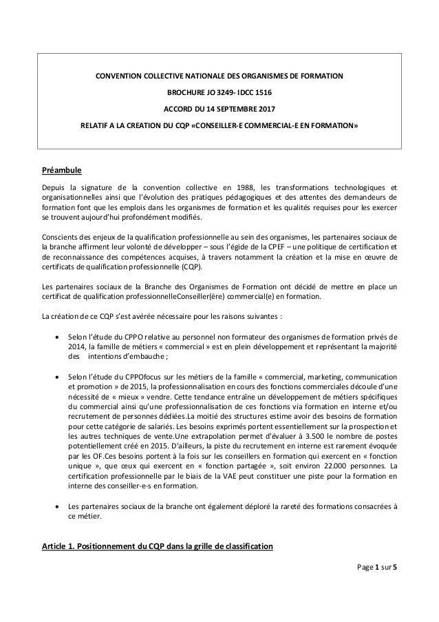 Page 1 sur 5 CONVENTION COLLECTIVE NATIONALE DES ORGANISMES DE FORMATION BROCHURE JO 3249- IDCC 1516 ACCORD DU 14 SEPTEMBR...