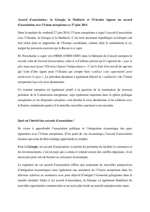 Accord d'association : la Géorgie, la Moldavie et l'Ukraine signent un accord d'association avec l'Union européenne ce 27 ...