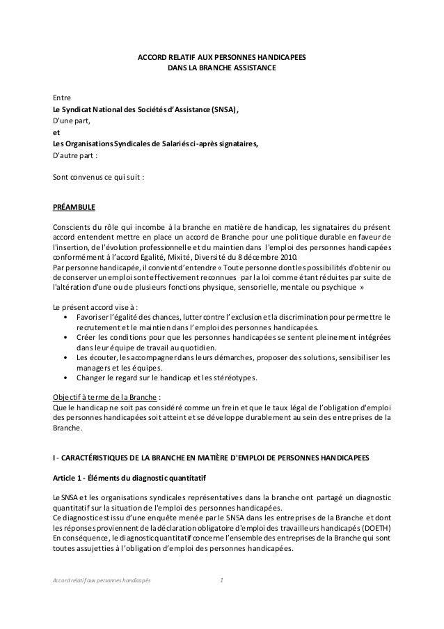 Accord relatif aux personnes handicapés 1 ACCORD RELATIF AUX PERSONNES HANDICAPEES DANS LA BRANCHE ASSISTANCE Entre Le Syn...