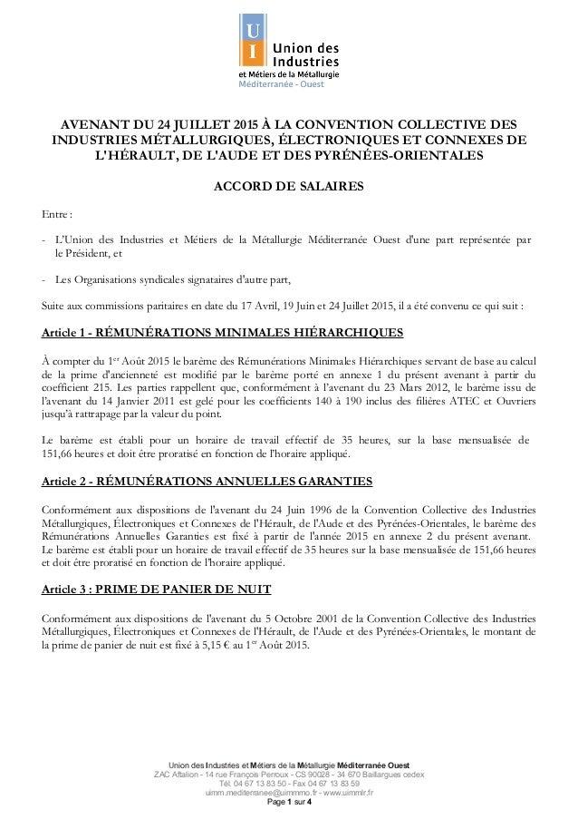 AVENANT DU 24 JUILLET 2015 À LA CONVENTION COLLECTIVE DES INDUSTRIES MÉTALLURGIQUES, ÉLECTRONIQUES ET CONNEXES DE L'HÉRAUL...
