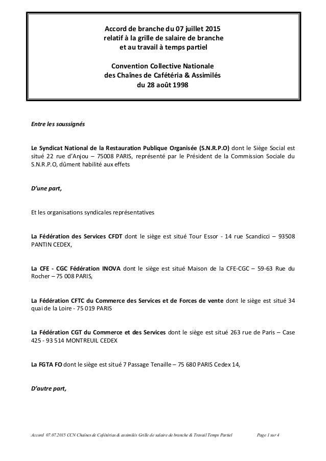 Accord de branche du 07 juillet 2015 relatif à la grille de salaire de branche et au travail à temps partiel Convention Co...