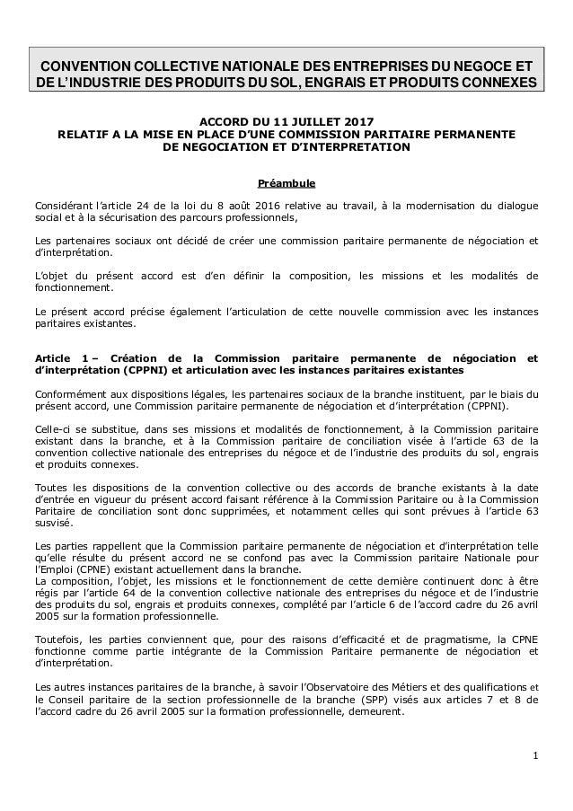 1 CONVENTION COLLECTIVE NATIONALE DES ENTREPRISES DU NEGOCE ET DE L'INDUSTRIE DES PRODUITS DU SOL, ENGRAIS ET PRODUITS CON...